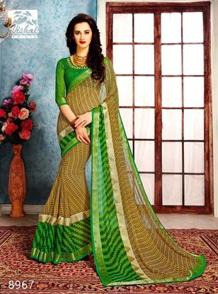 Picture of ORIGINAL INDIAN PURE GEORGETTE GREEN