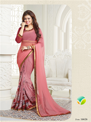 Picture of Indian Pure Chiffon Georgette Saree Pink