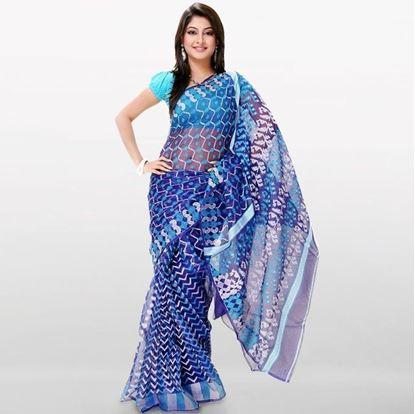 Picture of  Blue Musleen Jamdani Saree