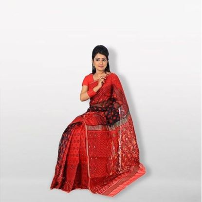 Picture of  Red and Black Musleen Jamdani Saree