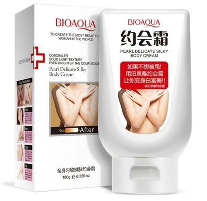 Picture of BIOAQUA Pearl Delicate Silky Body Cream Face care whitening Body Lotion Makeup Retail Skin Care Moisturizing Natural Concealer 180ml
